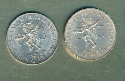 Mexico - 25 Pesos 1968 Olympics Silver - 2 Coins - Xf Or Better