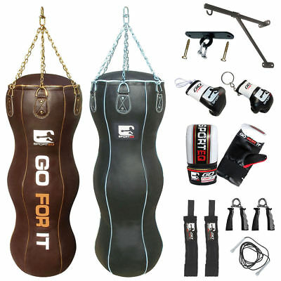 Sporteq 5ft Real Leather Heavy Filled Triple Body Boxing Uppercut Punch Bag 18""