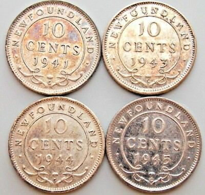 1941 1943 1944 1945  Newfoundland Canada Canadian Silver 10 Cent Coins Lot Of 4