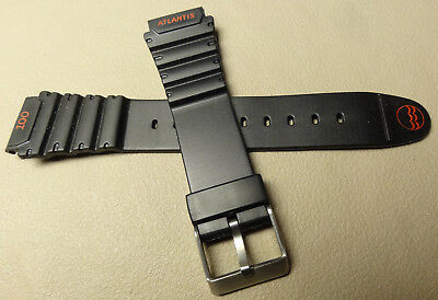 New Mens Timex Atlantis 19mm Black with 100 meter Rubber Sport Watch Band Strap