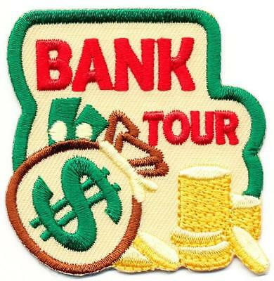 Girl Boy Cub BANK TOUR Visit Money Dollars Fun Patches Crests Badges SCOUT GUIDE