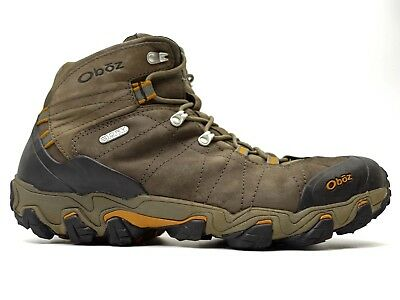 e80acbb22fb79f Oboz Mens Bridger Mid BDry Waterproof Brown Leather Outdoor Hiking Boots  Size 14