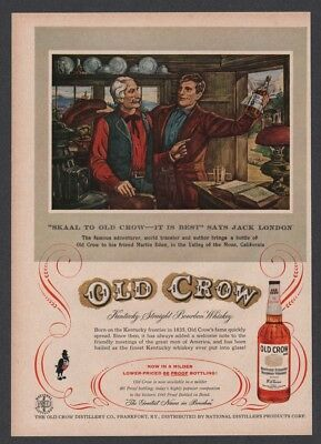 1957 Old Crow Whiskey Skaal to Old Crow Jack London Martin Eden illustrated Ad