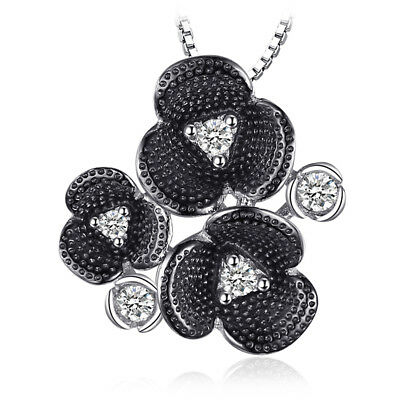 JewelryPalace Retro 0.27ct Cubic Zirconia Flower Pendant 925 Sterling Silver