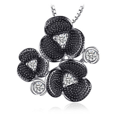 JewelryPalace Retro 0.27ct Cubic Zirconia Flower Pendant Necklace 925 Silver