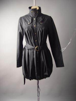 Ryu Black Steampunk Trench Style Belted Drawstring Shirt Dress 204 mv Coat S M L