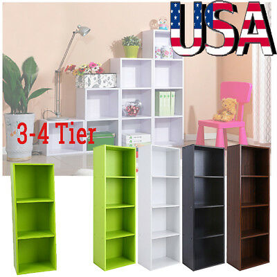 Bookshelf 3/4 Tier Bookcase Display Storage Shelving Shelf Organizer Book Home