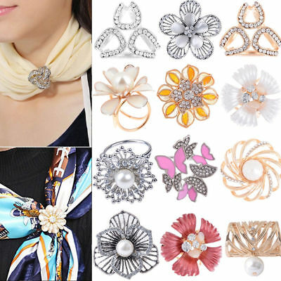 Women Scarf Jewelry Scarf Ring Clip Buckle Scarf Clip Flower Buckle Holder Gift