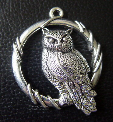 OWL PENDANT SILVER ALLOY 46 x 38 mm Wicca Pagan Witch Goth OWL TOTEM WISE OWL
