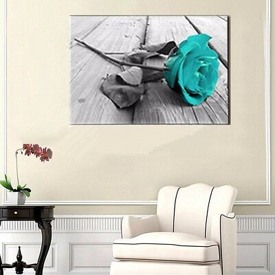 Modern Teal Blue Rose Flower Floral Canvas Large Wall Art Painting Home Decor