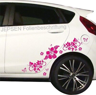 Car Sticker Set Butterflies Flowers Hibiscus HIBISCUS FLOWERS C49 ml Pink Gl