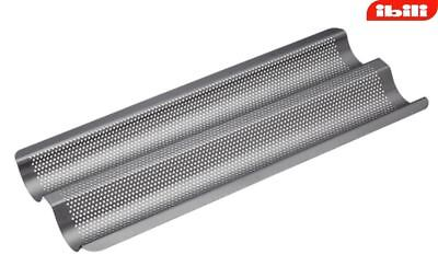 Ibili Stainless Steel Non-Stick Perforated 2 Tile Baguette Pan 37 x 17 cm