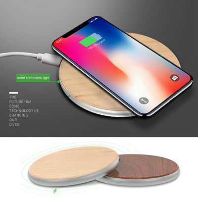 Qi Fast Wireless Charger Charging Wood Pad for Samsung Note 8 S9 iPhone X 8 Plus