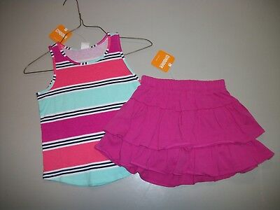 Nwt Gymboree 2 Pc Outfit Retail $47.90 Pink Stripes & Pink Skirt Size 5