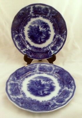 Pair of Antique Flow Blue Luncheon Plates, Nonpareil, Burgess & Leigh, England