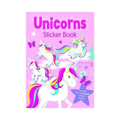 Children's Girls Unicorns Sticker Book Reusable Stickers Colouring Activity Gift
