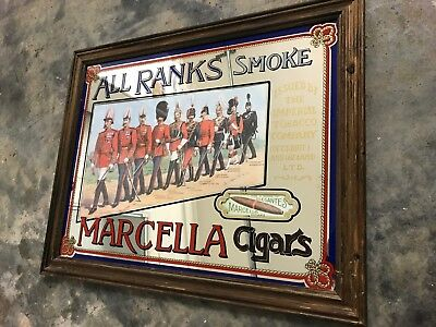 Vintage Macrella Cigars Bar Pub MIRROR ALL RANKS Smoke MAN CAVE 1970 IRELAND