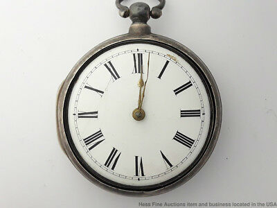 Massive Cox Hoe European Huge 62mm Silver Fusee Pocket Watch to Fix