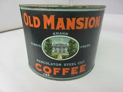 Vintage Old Mansion Brand  Coffee Tin Advertising Collectible M-23