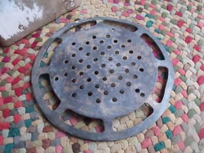 """COOL Large Antique Brass or Bronze Drain Cover 10 3/8"""" GREAT Patina Repurpose!"""