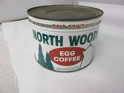 Vintage  North Woods  Brand  Coffee Tin Advertising Collectible M-48