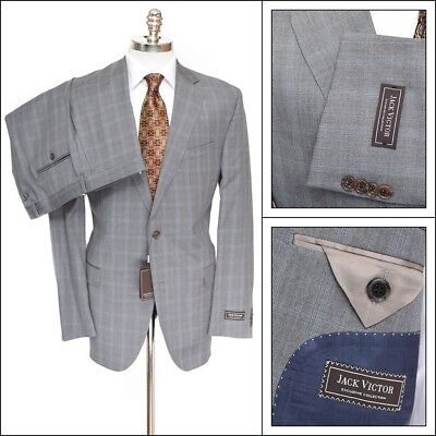 $850 NWT JACK VICTOR Exclusive Gray Plaid Super 110's 2Btn Flat Front Suit 44 R