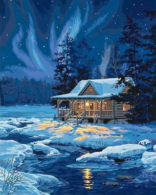 Paint Works Moonlit Cabin Painting By Numbers Kit