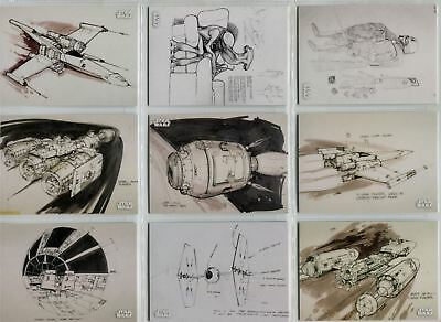 Star Wars A New Hope Black And White Complete Concept Art Chase Card Set CA1-12