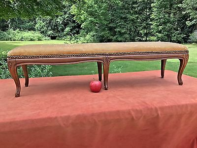 Antique 19th C Long Wood FOOT STOOL Bedside Step Bench Original Leather Top