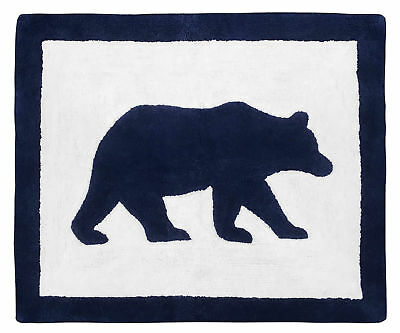 Modern Navy White Floor Rug For Sweet Jojo Designs Boys Forest Bear Bedding Set