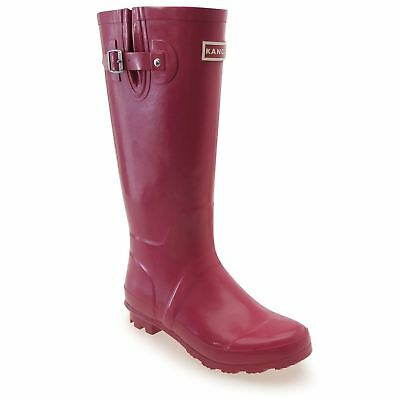 Kangol Tall Wellington Gum Boots Womens Berry Rubber Rain Wellies