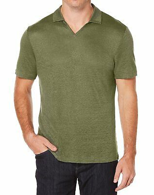 New Mens Perry Ellis Thyme Solid 100% Linen Open Collar Polo Shirt S