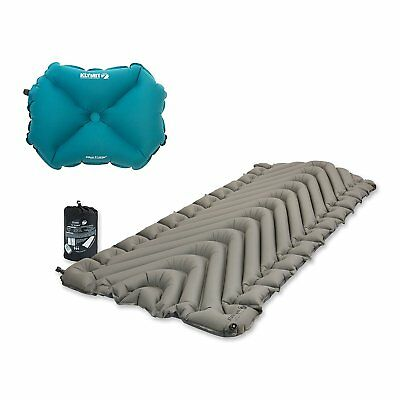 Klymit Static V Luxe Inflatable Sleeping Pad, Gray + Inflatable Pillow, Teal