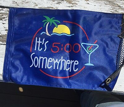 Parrot head   flag Banner Decor Its 5:00 somewhere12x18 Boat bar tiki  2 sided