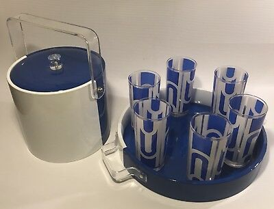 RARE Vtg 8 pc GEORGES BRIARD Beverage Set blue/white 6 TUMBLERS TRAY ICE BUCKET