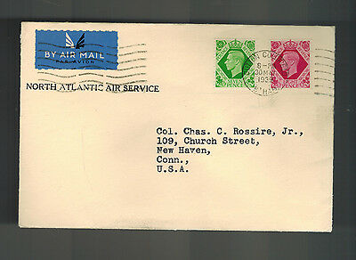 1939 London England Forerunner Flight Cover to USA Northatlantic with Letter