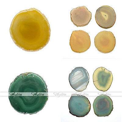 Round Sliced Agate Beverage Coasters Cup Mat Sets Special Creative Tea Placemat