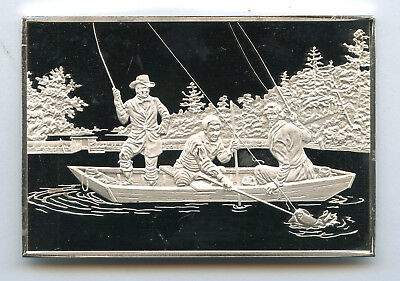 Catching A Trout Currier & Ives 999 Fine Silver Franklin Mint Bar 2.79 Ounces