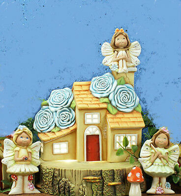 """Ceramic Bisque Ready to Paint """"Rose Cottage Fairy Scene"""" Brand New Lighted"""