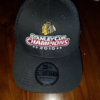new style ae94f 7e530 Chicago Blackhawks hat NHL New era Hockey 2010 Stanley cup champs mesh  stretch