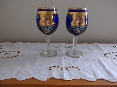 2 wine glasses cobalt blue hand painted GORGEOUS!