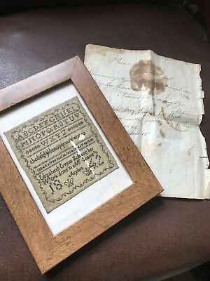 Rare Antique 1842 Sampler Created by Elizabeth Shuze Whilst in an Asylum