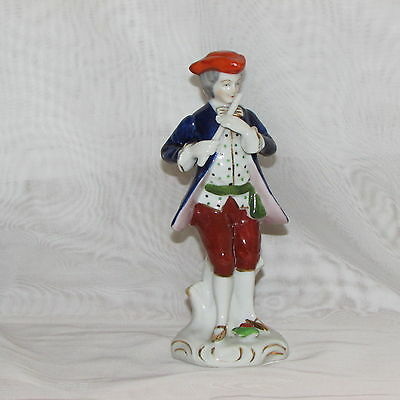 Occupied Japan Vintage Hand Painted Figurine Colonial Man With Flute Hat Mij