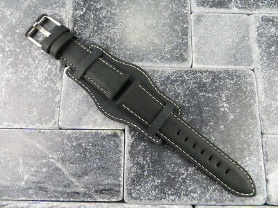 German Military Aviator Watch Strap Army Leather Cuff Watch Band Bund Black WH k