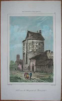 1842 print TOWER ON RAMPARTS, GREAT YARMOUTH, NORFOLK, ENGLAND (#59)