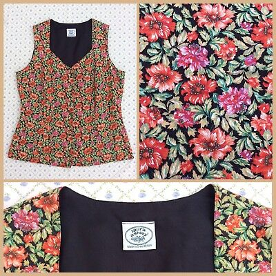 VINTAGE LAURA ASHLEY Floral Waistcoat Jacket 12 14 GREAT BRITAIN IMMACULATE RARE