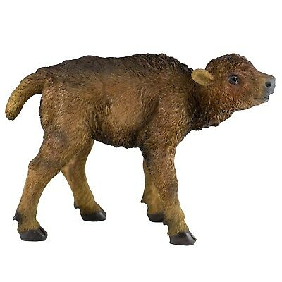 """Bison Buffalo Baby Calf Figurine 6"""" Long Realistic Resin New In Box!"""