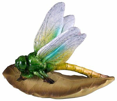 Dragonfly On Leaf Figurine 5.25 Inch Long Resin Glossy Finish New In Box!