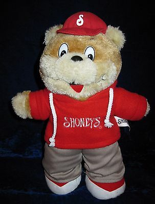 Shoneys Teddy Bear Red Hoodie Ball Cap 2007 Shoney's Mascot Plush Stuffed