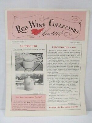 Price Guides & Publications Red Wing Collectors Newsletter June July 1990 The Little Brown Jug Pottery Usa